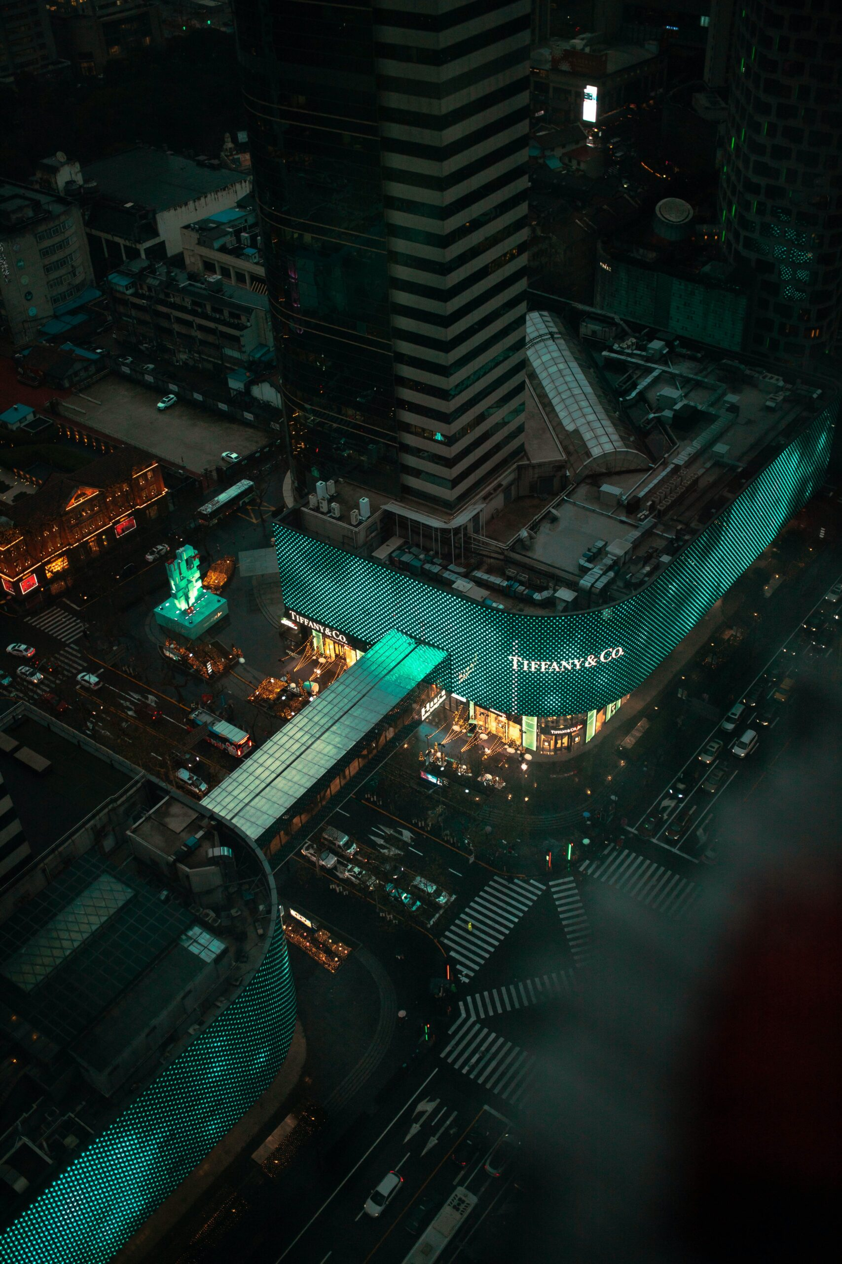 An aerial photo of Tiffany and Co department store